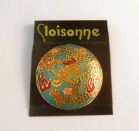Cloisonne Enamel Chinese style Dragon Brooch.
